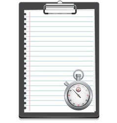 Clipboard with paper and stopwatch vector image vector image