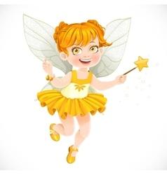 Cute little autumn fairy girl with a magic wand vector