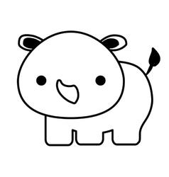 cute rhino isolated icon vector image vector image
