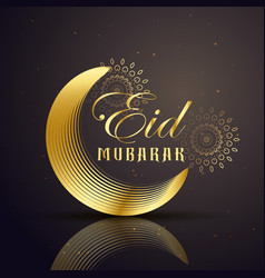 Eid mubarak festival greeting with golden line vector