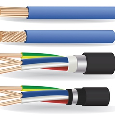 Electric copper cables vector