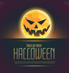 Evil halloween ghost on moon background vector