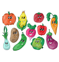 funny various cartoon vegetables vector image vector image