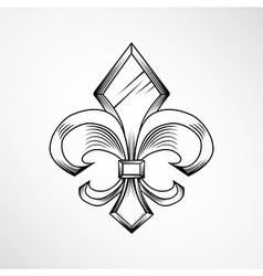 Heraldic lily label vector image