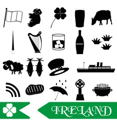 ireland country theme symbols outline icons set vector image