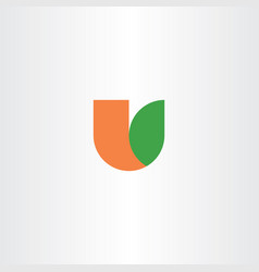 Letter u orange green icon logo vector