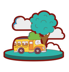 line color school bus in the city with clouds and vector image vector image