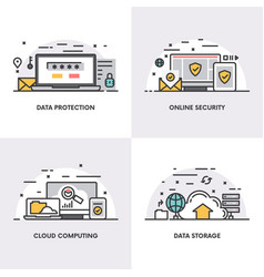linear design concepts and icons for data vector image vector image