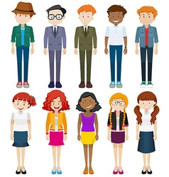 Men and women in different costumes vector image