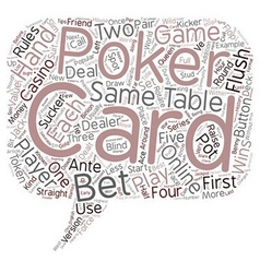 Poker Tips Poker Rules Online Poker text vector image vector image