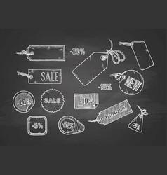 sale labels set on chalkboard vector image vector image