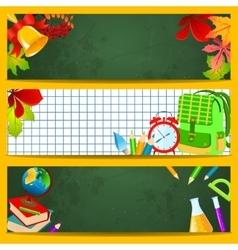 School accessories on a green chalkboard vector