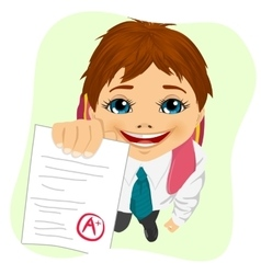 Schoolboy showing his test paper vector