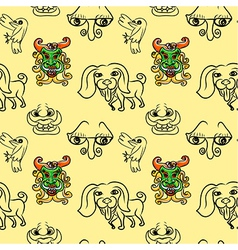 Seemless pattern of doodle cartoon vector