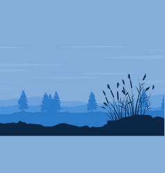 silhouette of tree and grass on desert scenery vector image vector image