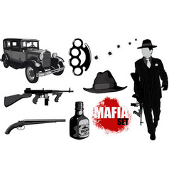 small set of mobsters vector image vector image