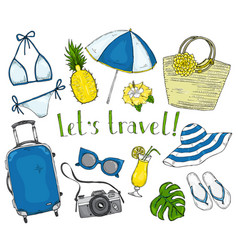 Summer set items for vacation and travel vector