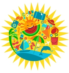 sun with template of summer icons vector image
