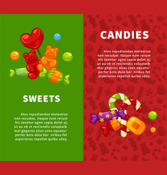 sweets and candies vertical posters with vector image