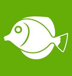 Tang fish zebrasoma flavescens icon green vector