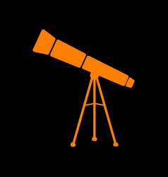 Telescope simple sign orange icon on black vector