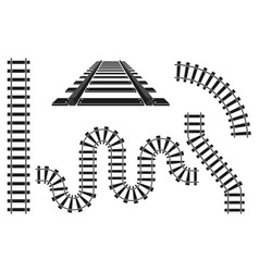 train railway road rails constructor elements vector image