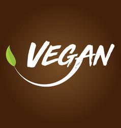 Vegan logo brown background vector