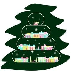 Winter village on christmas tree vector