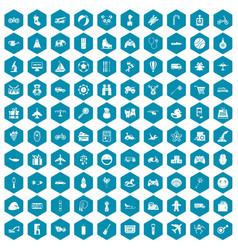 100 toys for kids icons sapphirine violet vector