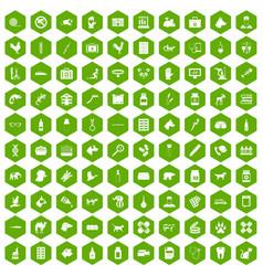 100 veterinary icons hexagon green vector