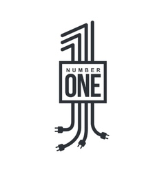 Number one logo formed by electric cables with vector image