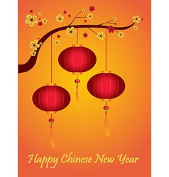 Lanterns and Happy Chinese New Year vector image