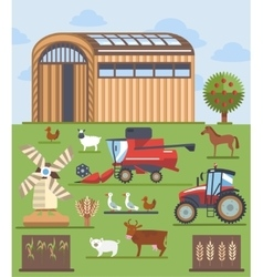 Set flat icons on farming and agriculture theme vector