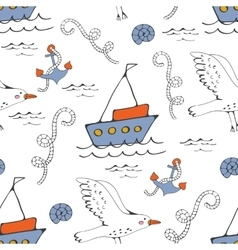 Colorful seamless sea pattern with seagulls vector