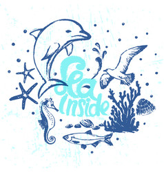 ink hand drawn sea inside card with marine flora vector image