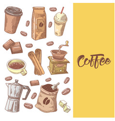 Coffee hand drawn doodle with coffee beans vector