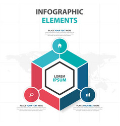 Abstract colorful hexagon business infographics vector