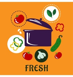 Fresh food concept depicting pan with vegetables vector