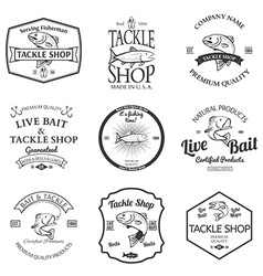 Tackle and bait shop label design elements emblem vector