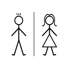 Boy and girl cartoon icon vector