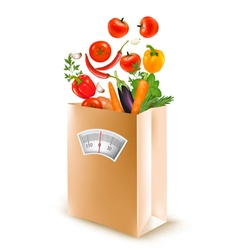 Shopping bag with healthy fruit and a scale vector