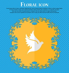 Dove floral flat design on a blue abstract vector