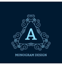 The linear blue monogram vector