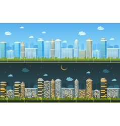 Day and night urban landscape vector image