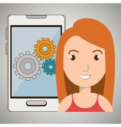 Woman smartphone gear isolated icon design vector