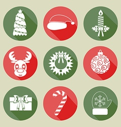 A set of Christmas icons White color Flat design vector image vector image