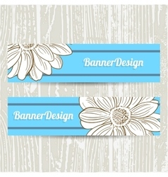 Baanners With Hand Drawn Camomiles vector image