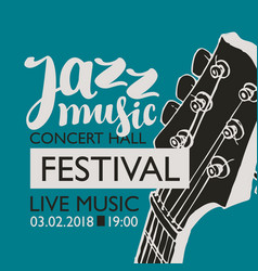 Banner for festival jazz music with a guitar neck vector