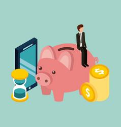 Businessman piggybank time mobile coins money vector