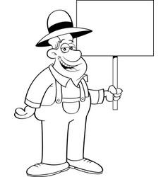 Cartoon farmer holding a sign vector